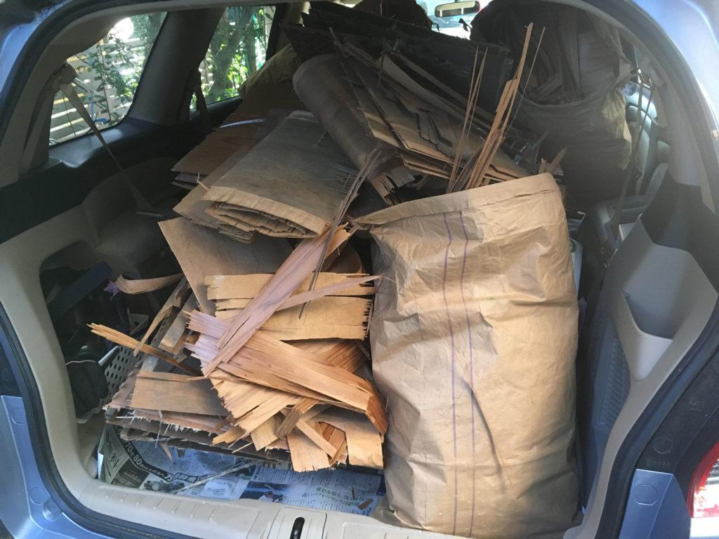 リノベーションで撤去したゴミを車につめて処分する。ワンボックスで良かった!