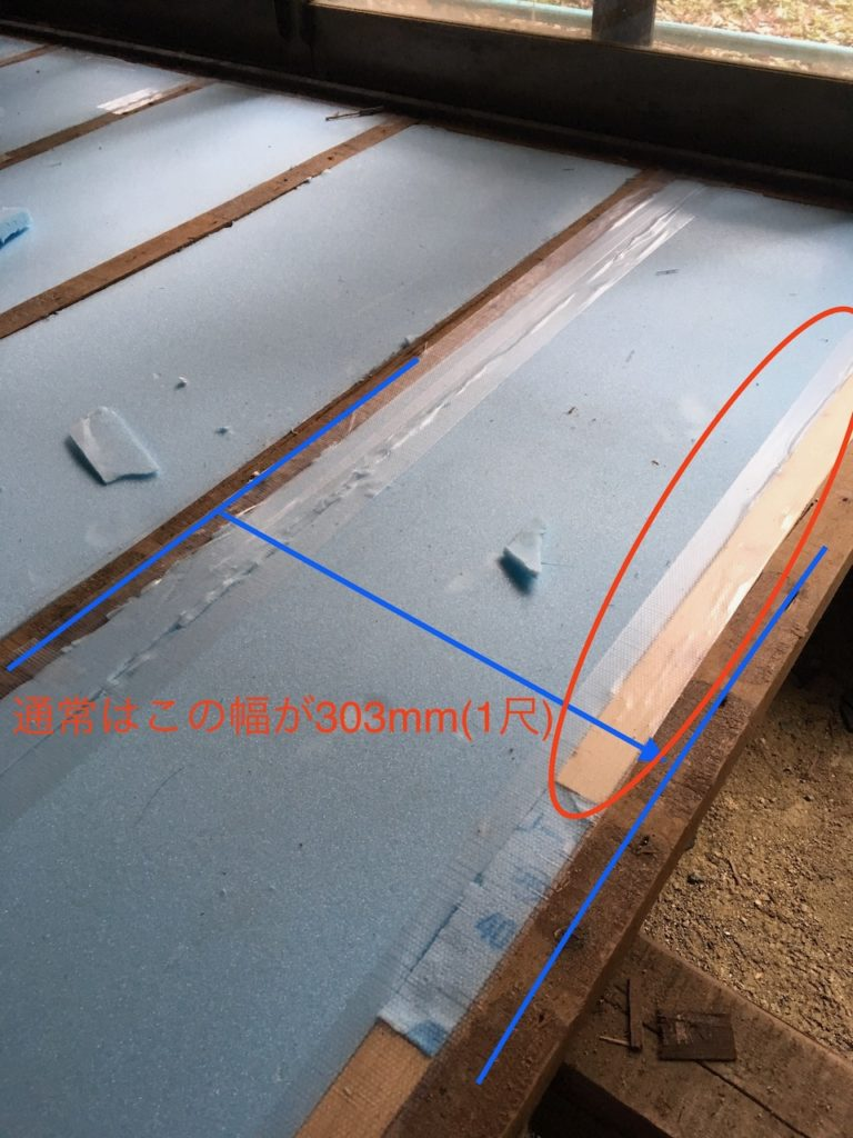 古い家では根太の間隔がバラバラなことも。構造板の幅が足りないときは。根太を追加します。
