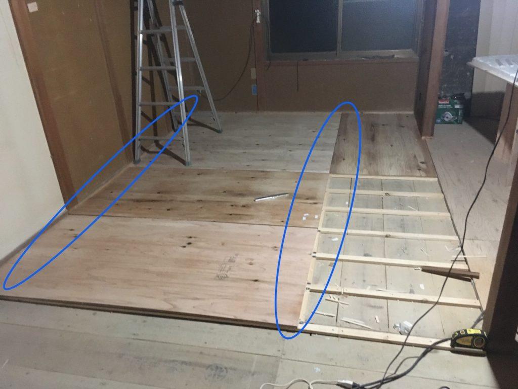 畳下に根太を取り付けたら、12mmの構造板で捨て貼りを作ります。