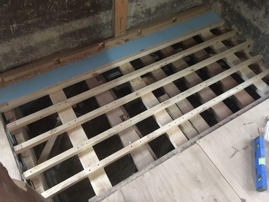 押入れを撤去して薪ストーブコーナーに作り変える。まずは床補強の方法から。